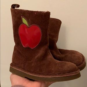 Baby Gap Brown Suede Boots with Apples